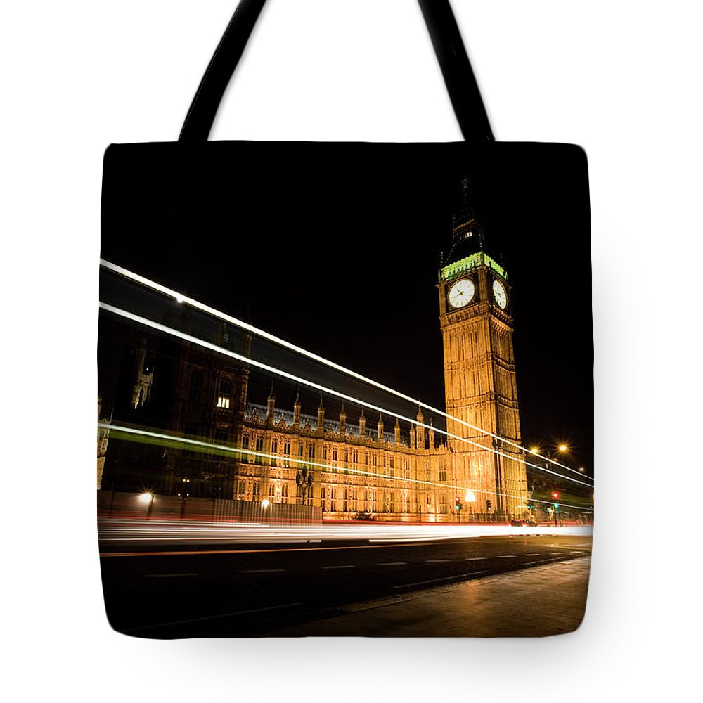 Clock Tower Tote Bag featuring the photograph Big Ben At Night by Track5