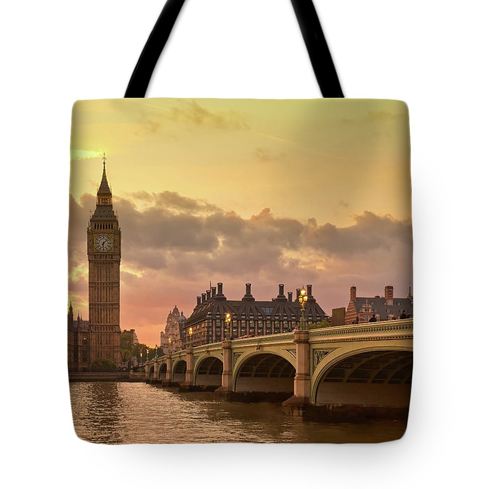Clock Tower Tote Bag featuring the photograph Big Ben On Sunset by © Alexander Gutkin Goutkin@gmail.com