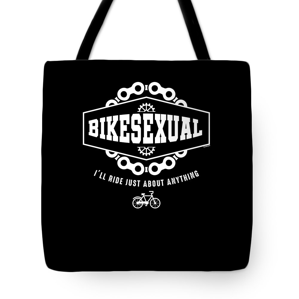 Sexual-orientation Tote Bag featuring the digital art Bikesexual Lgbt Bisexual Bike Cyclist Bikers Gay Pride Gifts by Tom Giant