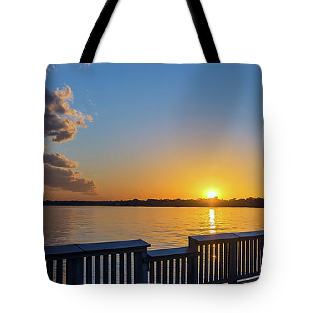 2d Tote Bag featuring the photograph Bill Burton Pier At Sunset by Brian Wallace