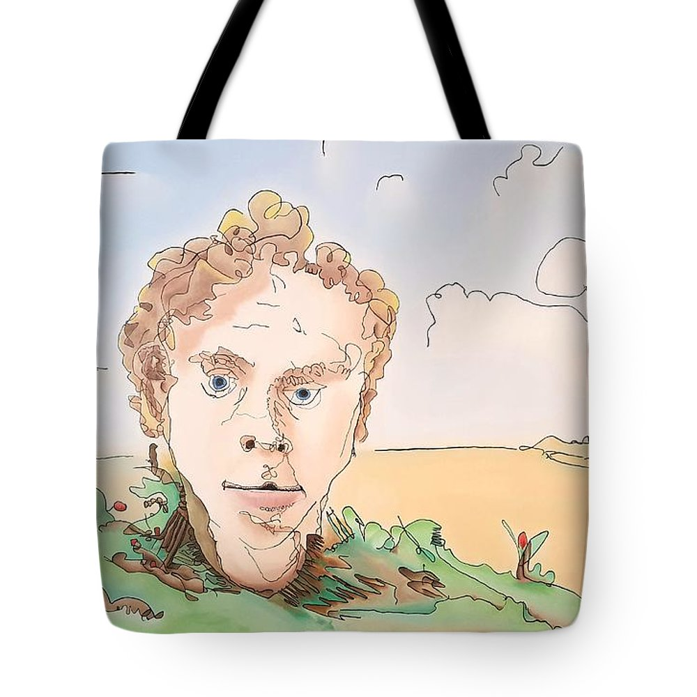 Portrait Tote Bag featuring the painting Billboard Man by Dave Martsolf
