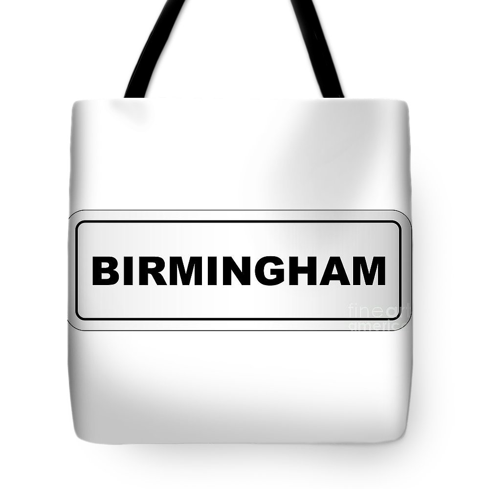 Birmingham Tote Bag featuring the digital art Birmingham City Nameplate by Bigalbaloo Stock