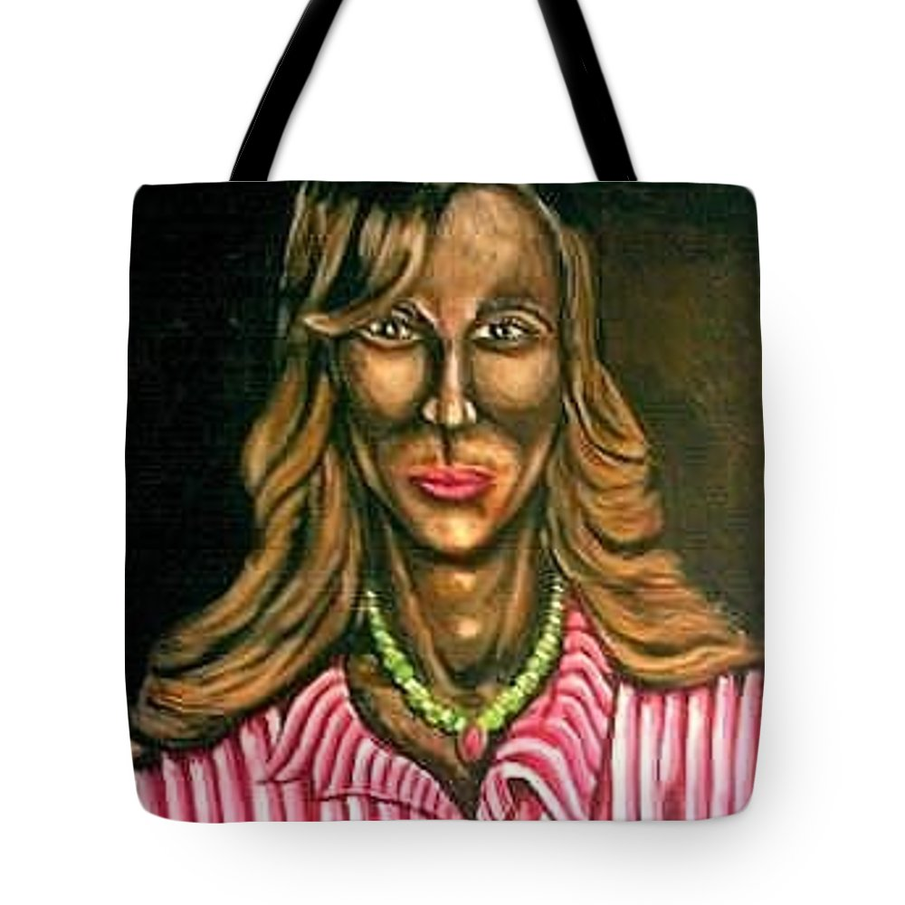 Art. Painting Of Woman Tote Bag featuring the painting Bizz by Andrew Johnson