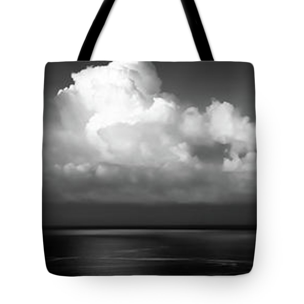 Clouds Tote Bag featuring the photograph Black And White Clouds - Panorama by Christopher Johnson