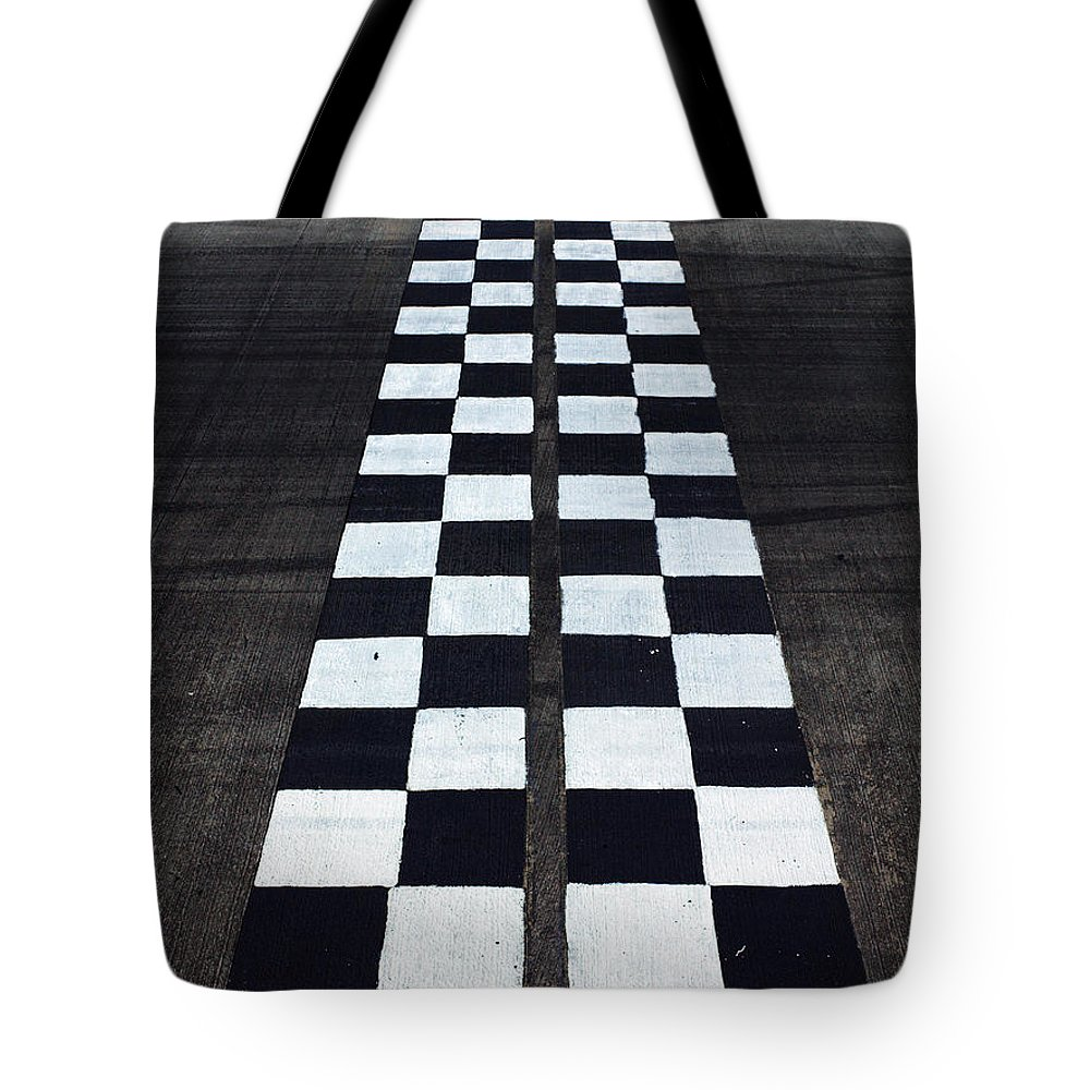 Finish Line Tote Bag featuring the photograph Black And White Finish Line by Win-initiative/neleman
