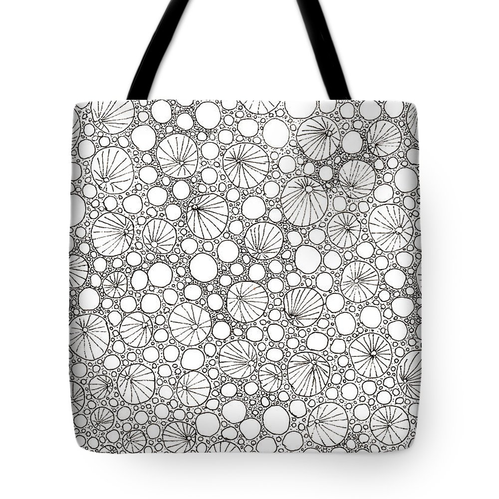 Ink Tote Bag featuring the drawing Black And White Graphic Bubbles. by Elena Gabbasova