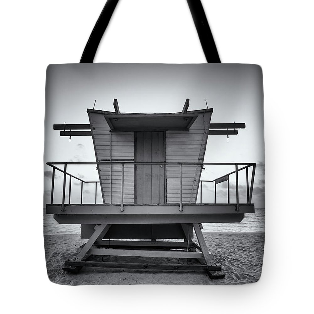 Outdoors Tote Bag featuring the photograph Black And White Lifeguard Stand In by Boogich