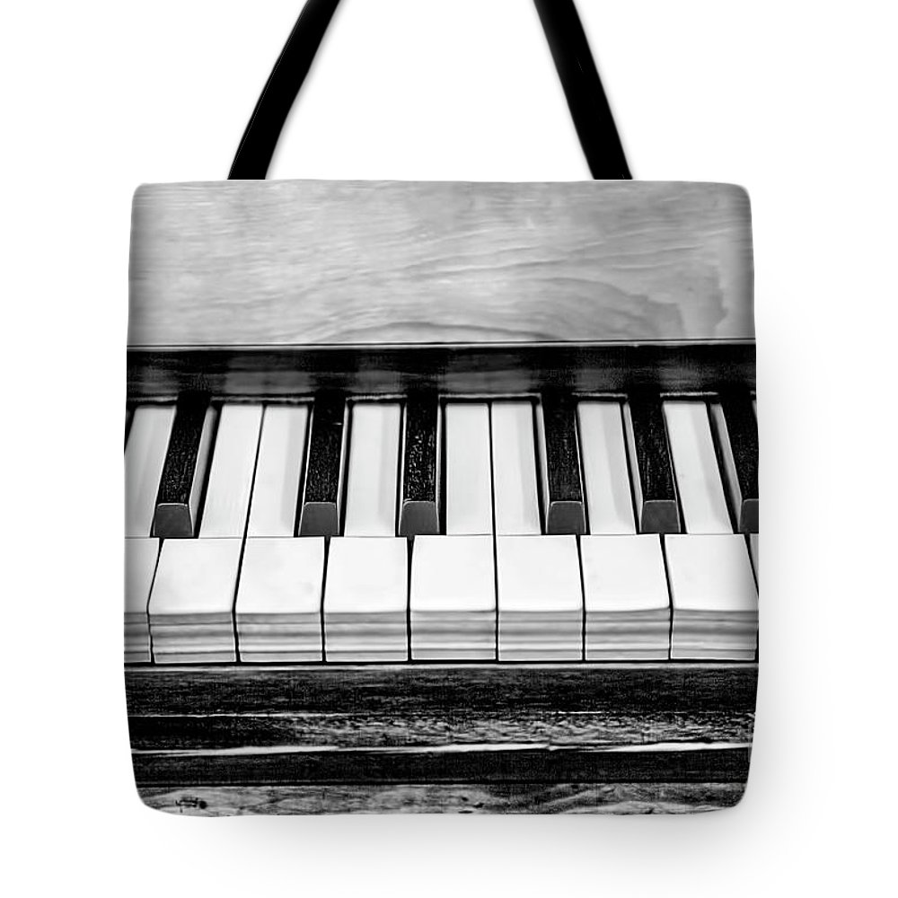 Black And White Tote Bag featuring the photograph Black And White Piano by Elisabeth Lucas