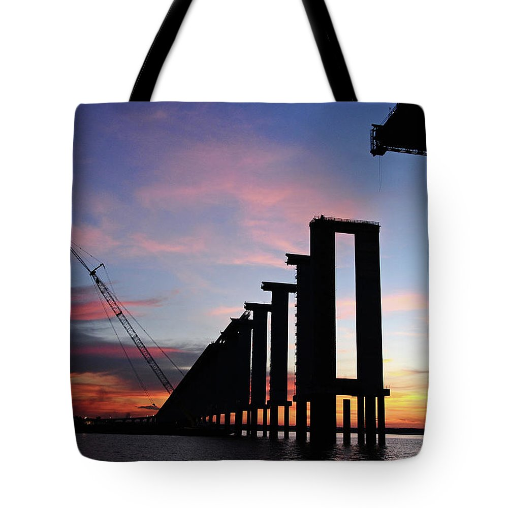 Tranquility Tote Bag featuring the photograph Black River Bridge by Fabionutti