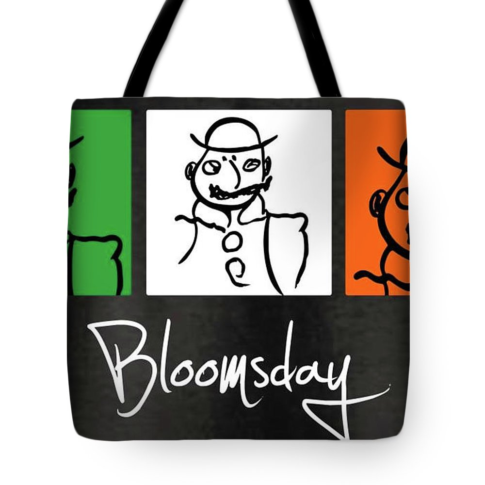 James Joyce Ulysses Bloomsday Tote Bag featuring the drawing Bloomsday by Roger Cummiskey