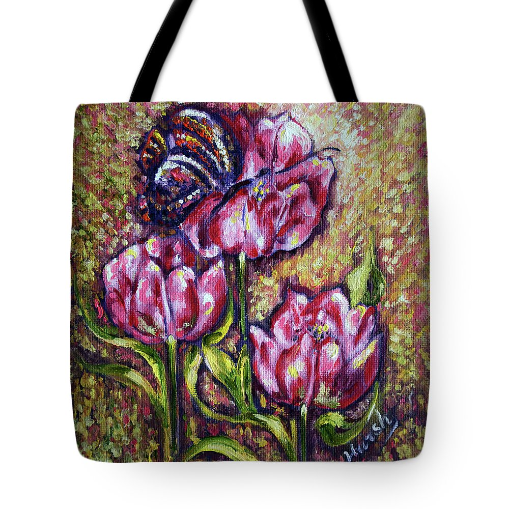 Blossom Tote Bag featuring the painting Blossom by Harsh Malik