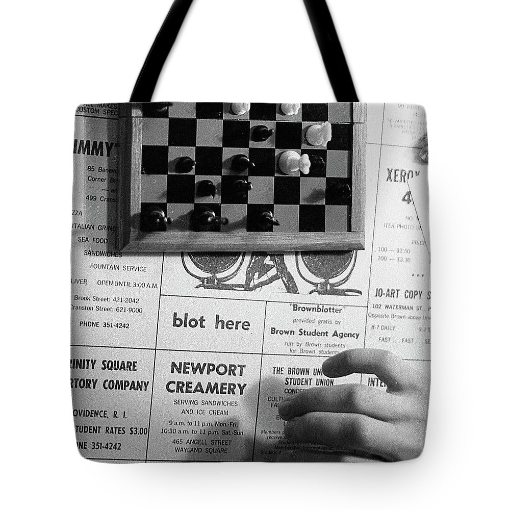 Providence Tote Bag featuring the photograph Blot Here, Aka Black's Move, 1972 by Jeremy Butler