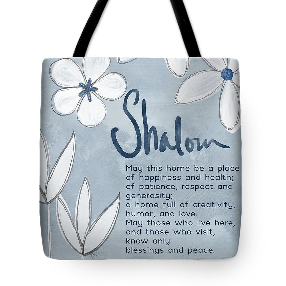 Jewish Home Blessing Tote Bag featuring the mixed media Blue And White Floral Blessing- Art By Linda Woods by Linda Woods