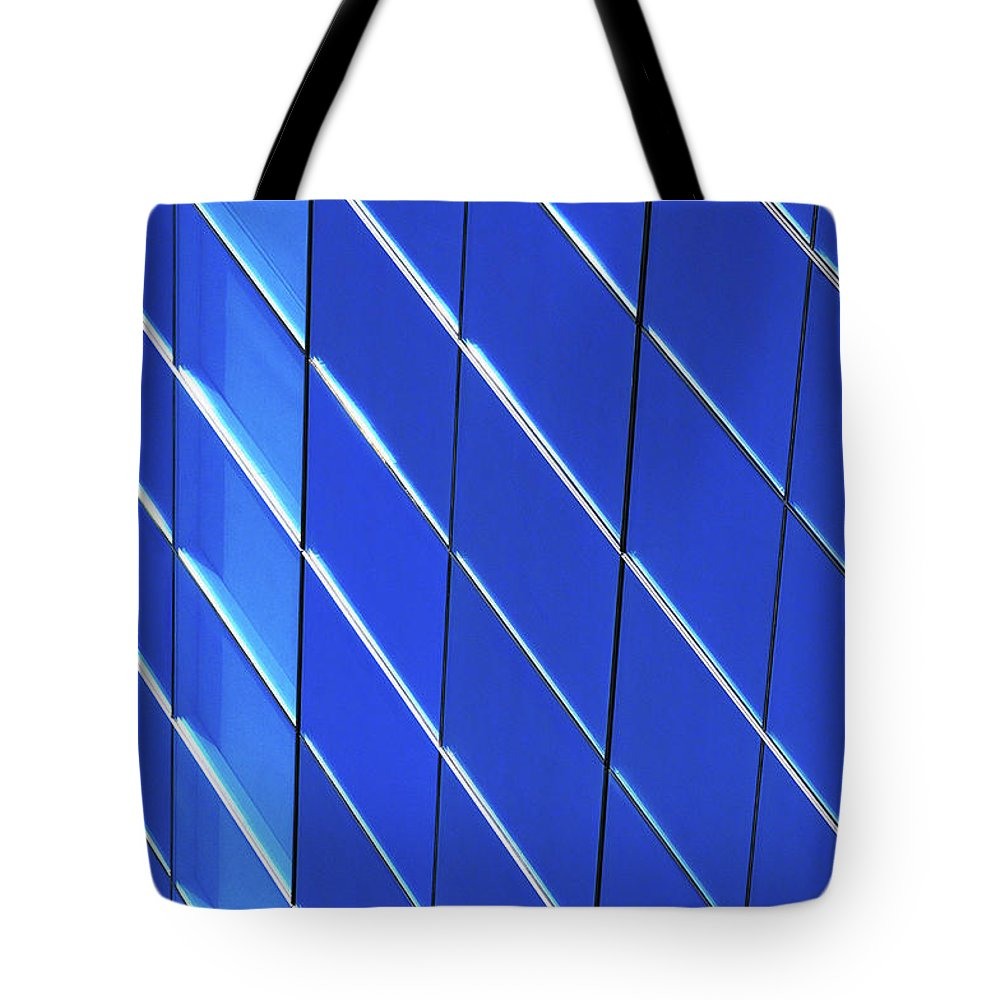 Outdoors Tote Bag featuring the photograph Blue Glass Modern Building by Joelle Icard