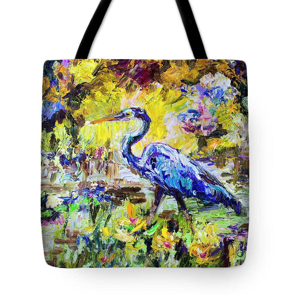 Birds Tote Bag featuring the painting Blue Heron Wetland Magic Palette Knife Oil Painting by Ginette Callaway