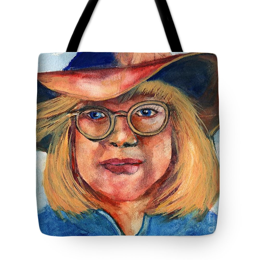 Cow Girl Tote Bag featuring the painting Blue Jean Lady by Randy Sprout