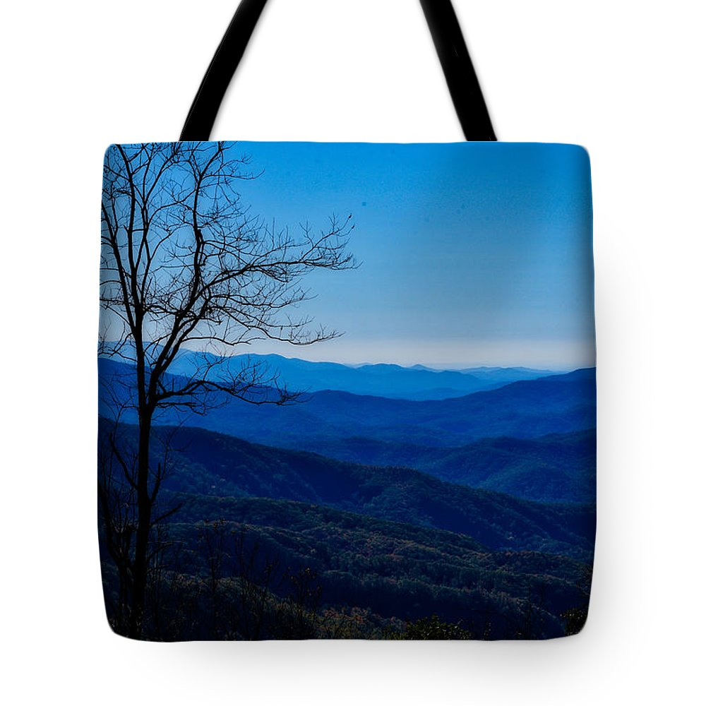 Mountains Tote Bag featuring the photograph Blue by Kristi Swift