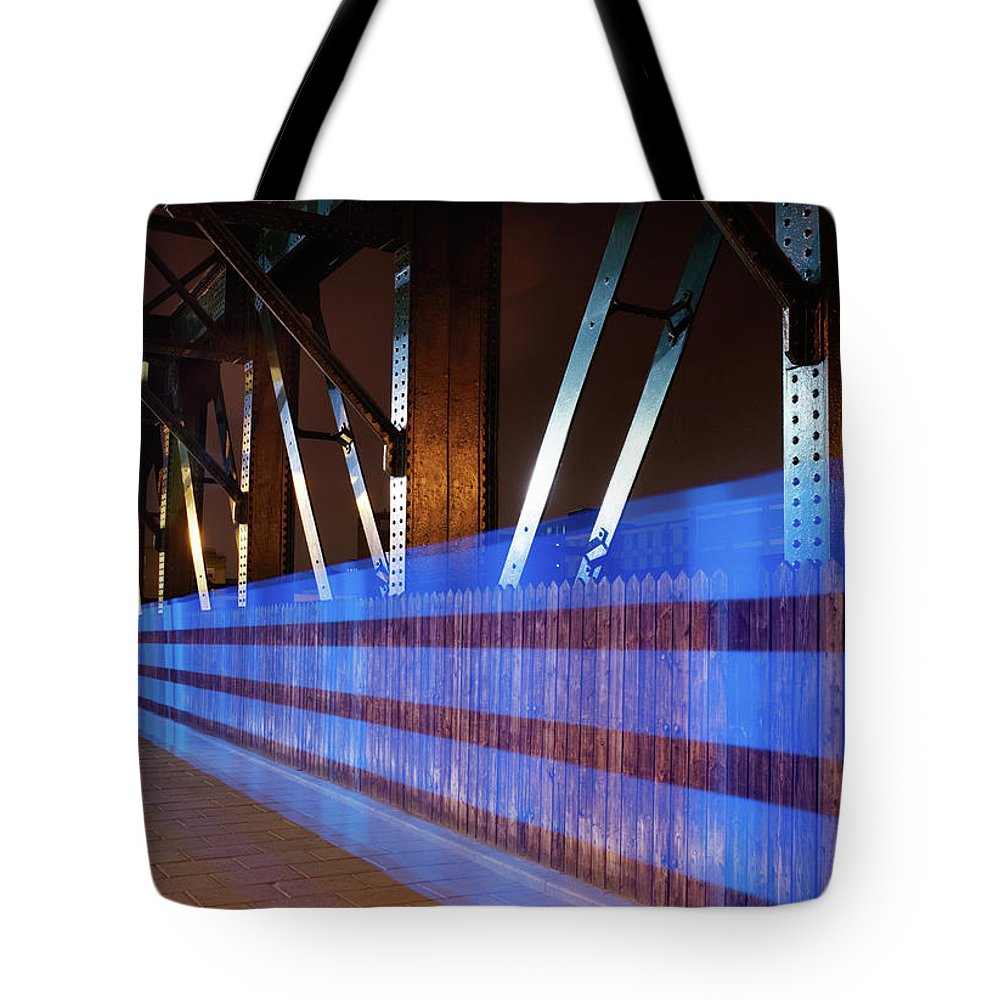 Internet Tote Bag featuring the photograph Blue Light Trail On Bridge by Tim Robberts
