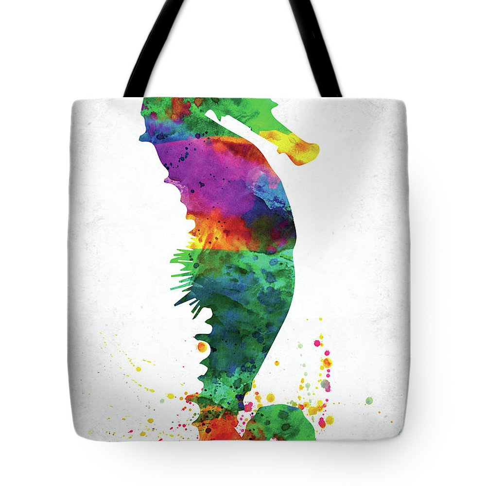 Seahorse Tote Bag featuring the digital art Blue Seahorse Watercolor by Mihaela Pater