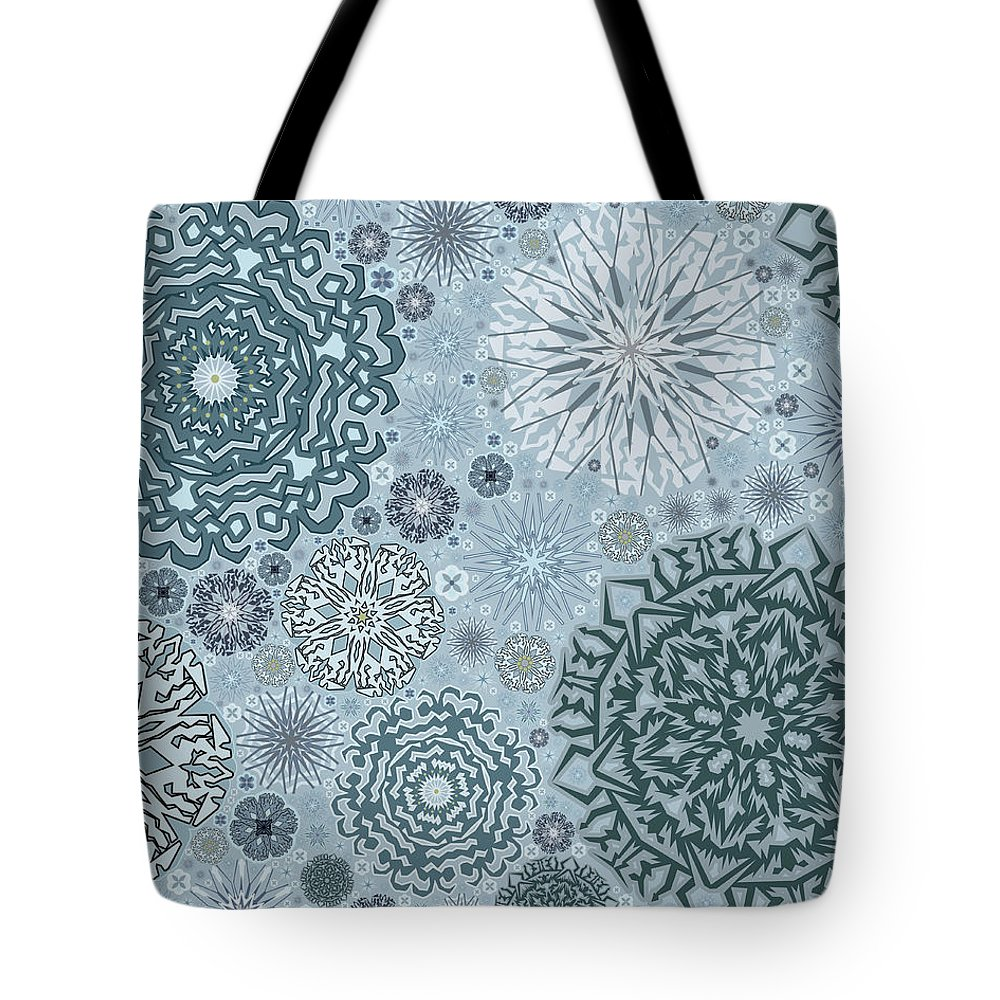 Art Tote Bag featuring the digital art Blue Snowflake Pattern by Bodhi Hill