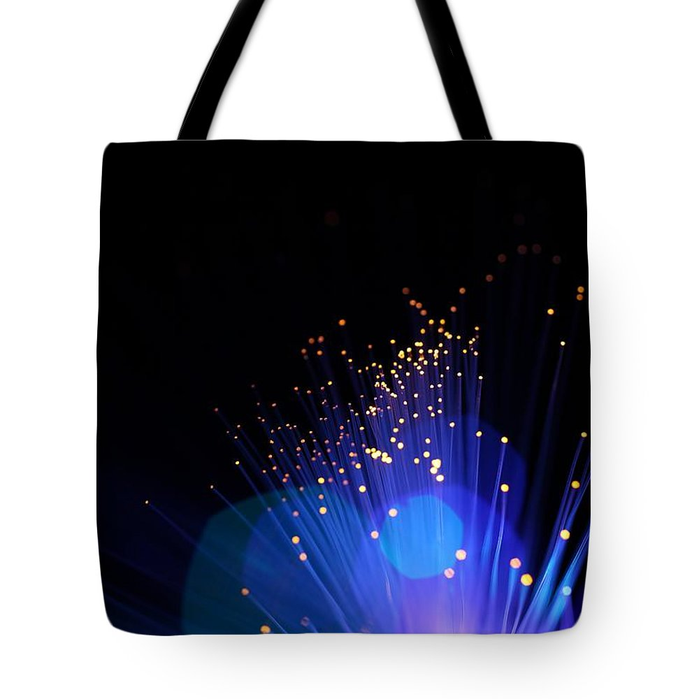 Funky Tote Bag featuring the photograph Blue Sparkle Lights by Merrymoonmary