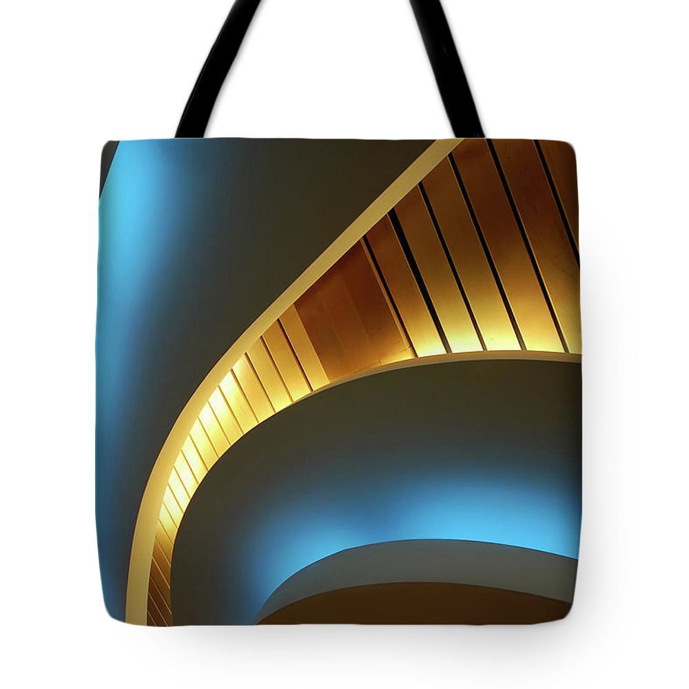Curve Tote Bag featuring the photograph Blue Swirl by Copyright Ralph Grunewald