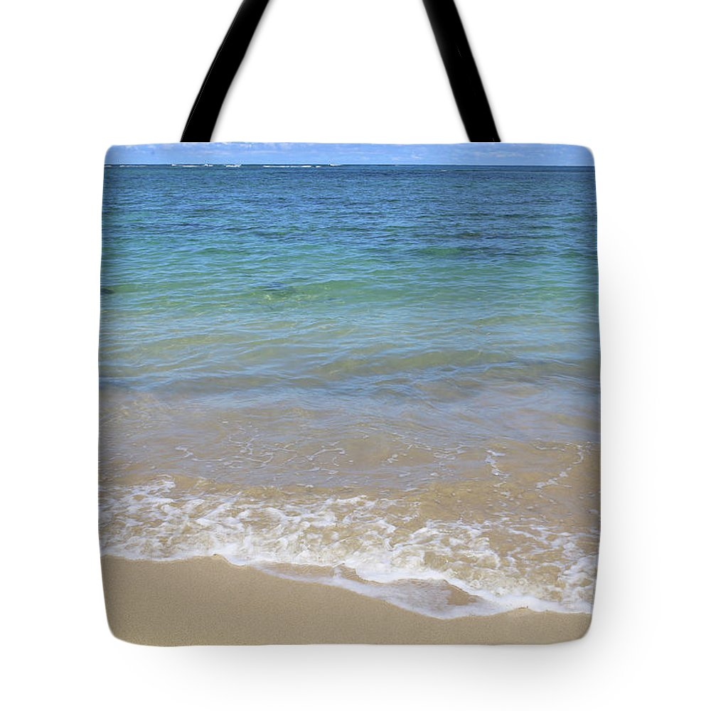 Shore Tote Bag featuring the photograph Blue Teal And Sand by Alina Avanesian