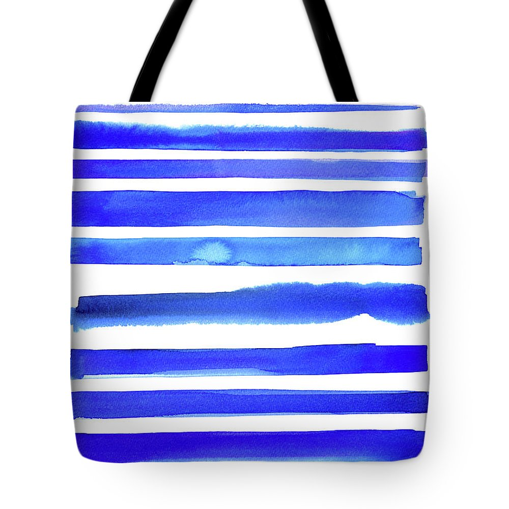 Art Tote Bag featuring the digital art Blue Textured Stripes by Johnwoodcock
