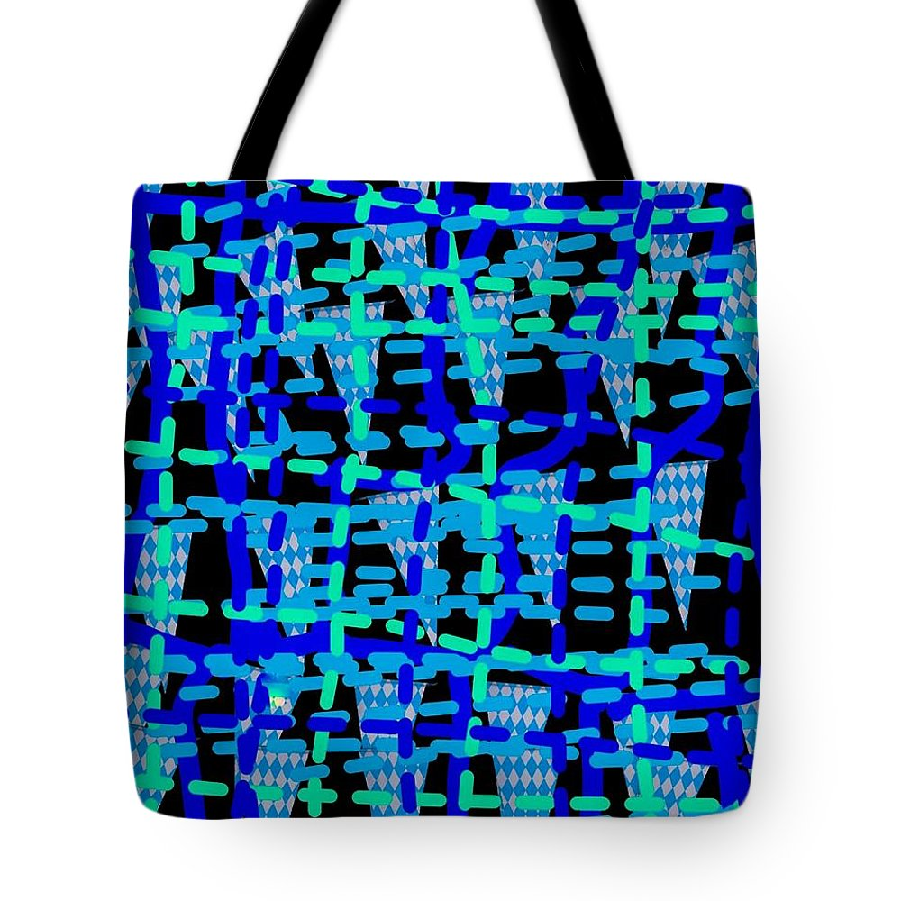 Blue Tote Bag featuring the digital art Blue Vibes 28 by Moylom Art Studio
