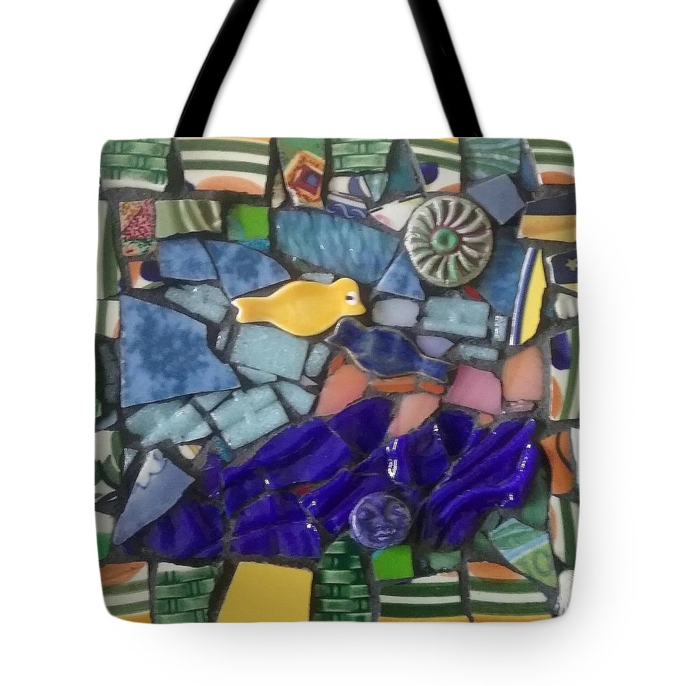Collage Tote Bag featuring the mixed media Blue Water by ILona Halderman