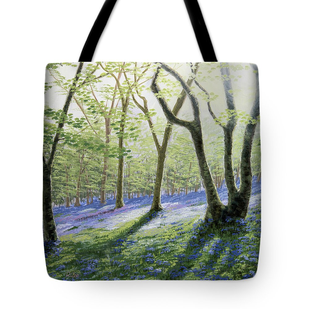 Bluebells Tote Bag featuring the painting Bluebell Wood by Raymond Ore