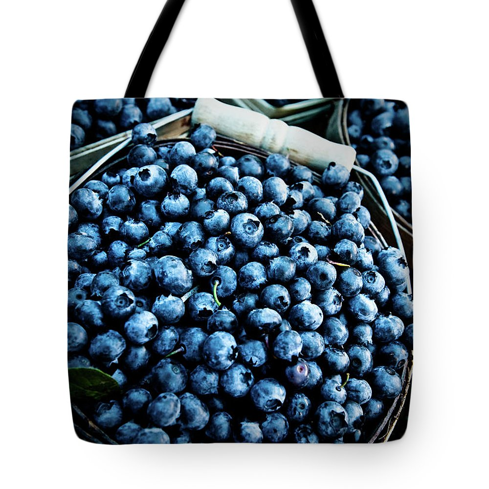 Heap Tote Bag featuring the photograph Blueberries At Farmers Market by Richard Deming Photography