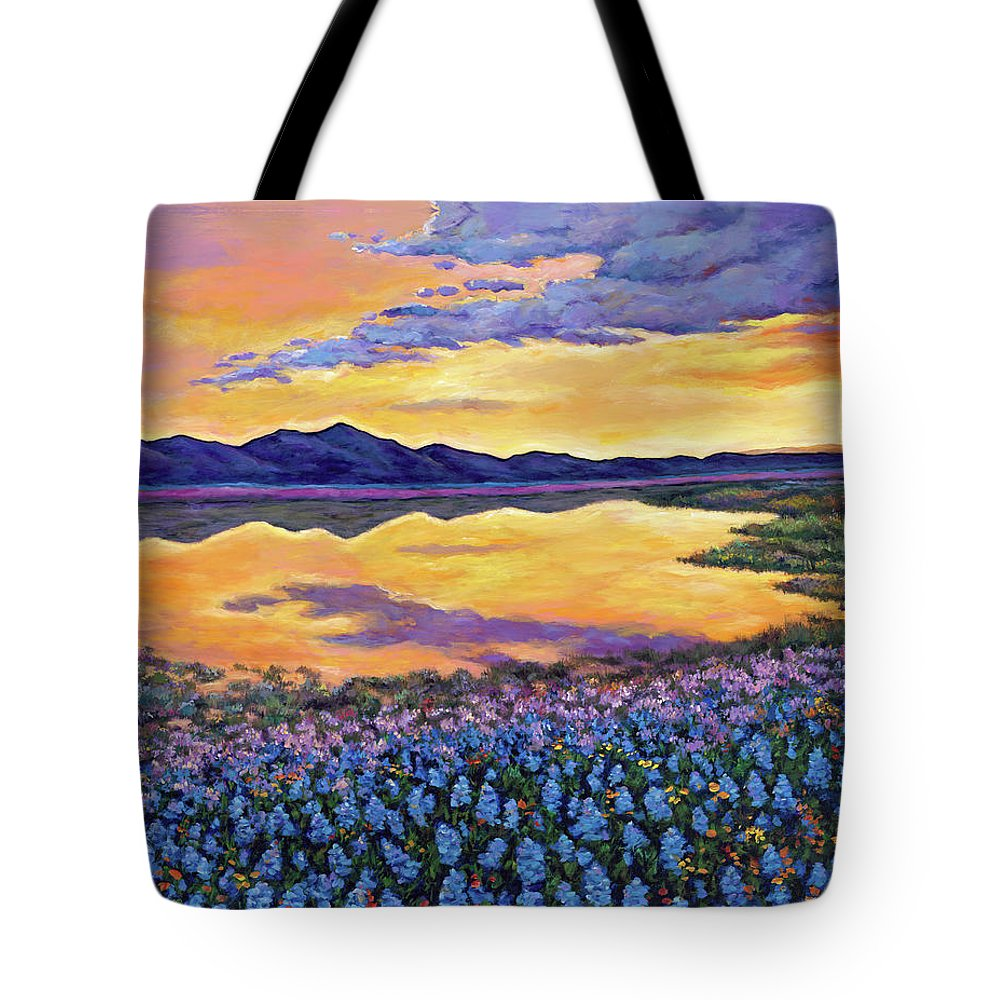 Southwestern Landscape Tote Bag featuring the painting Bluebonnet Rhapsody by Johnathan Harris