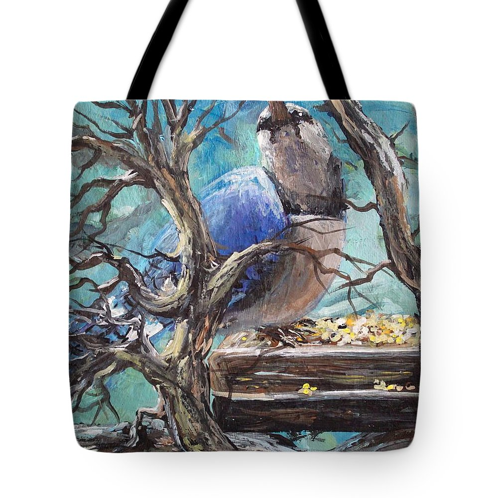 Birds Tote Bag featuring the painting Bluejay by Megan Walsh