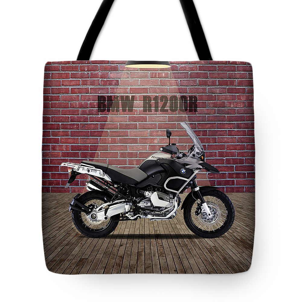 Bmw Tote Bag featuring the mixed media Bmw R1200r Red Wall by Smart Aviation