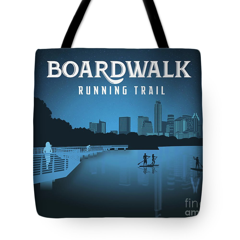 Boardwalk Running Trail Tote Bag featuring the photograph Boardwalk Running Trail by Weird Austin Photos