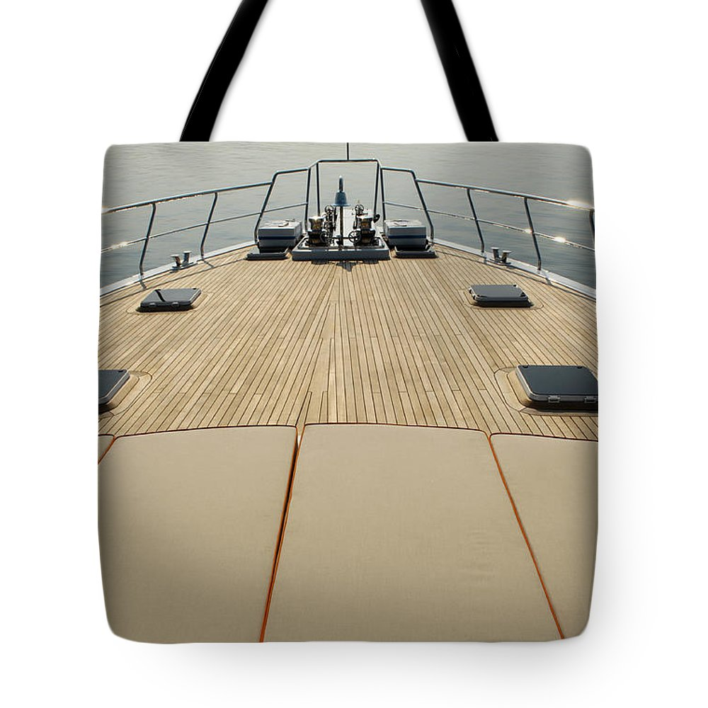 Seascape Tote Bag featuring the photograph Boat Deck by 1001nights