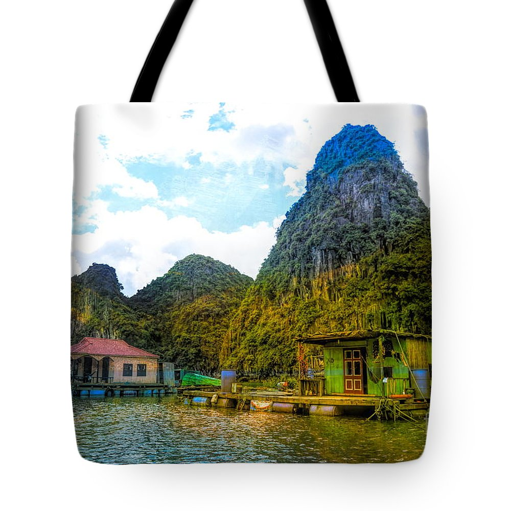 Vietnam Tote Bag featuring the digital art Boat People Homes On Gulf Of Tonkin Ha Long Bay Vietnam by Chuck Kuhn