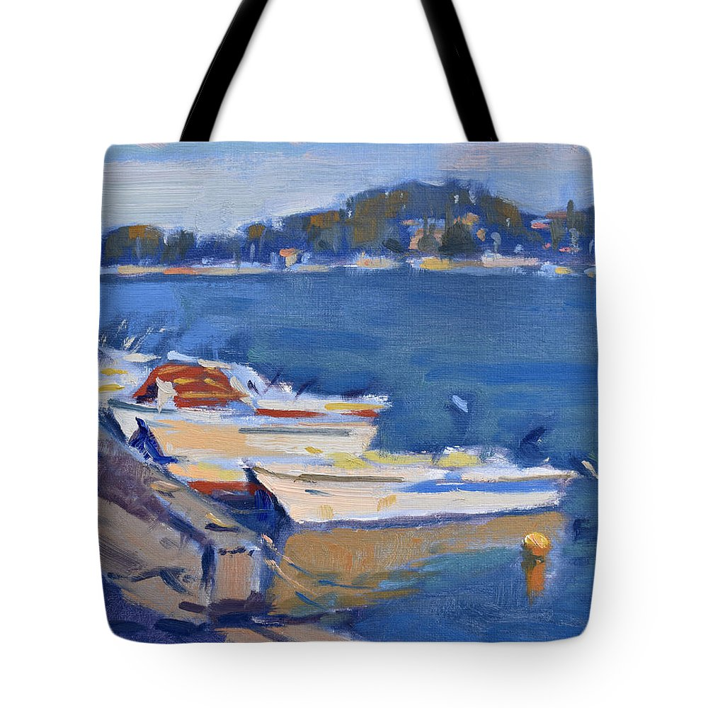 Boats Tote Bag featuring the painting Boats by Ylli Haruni