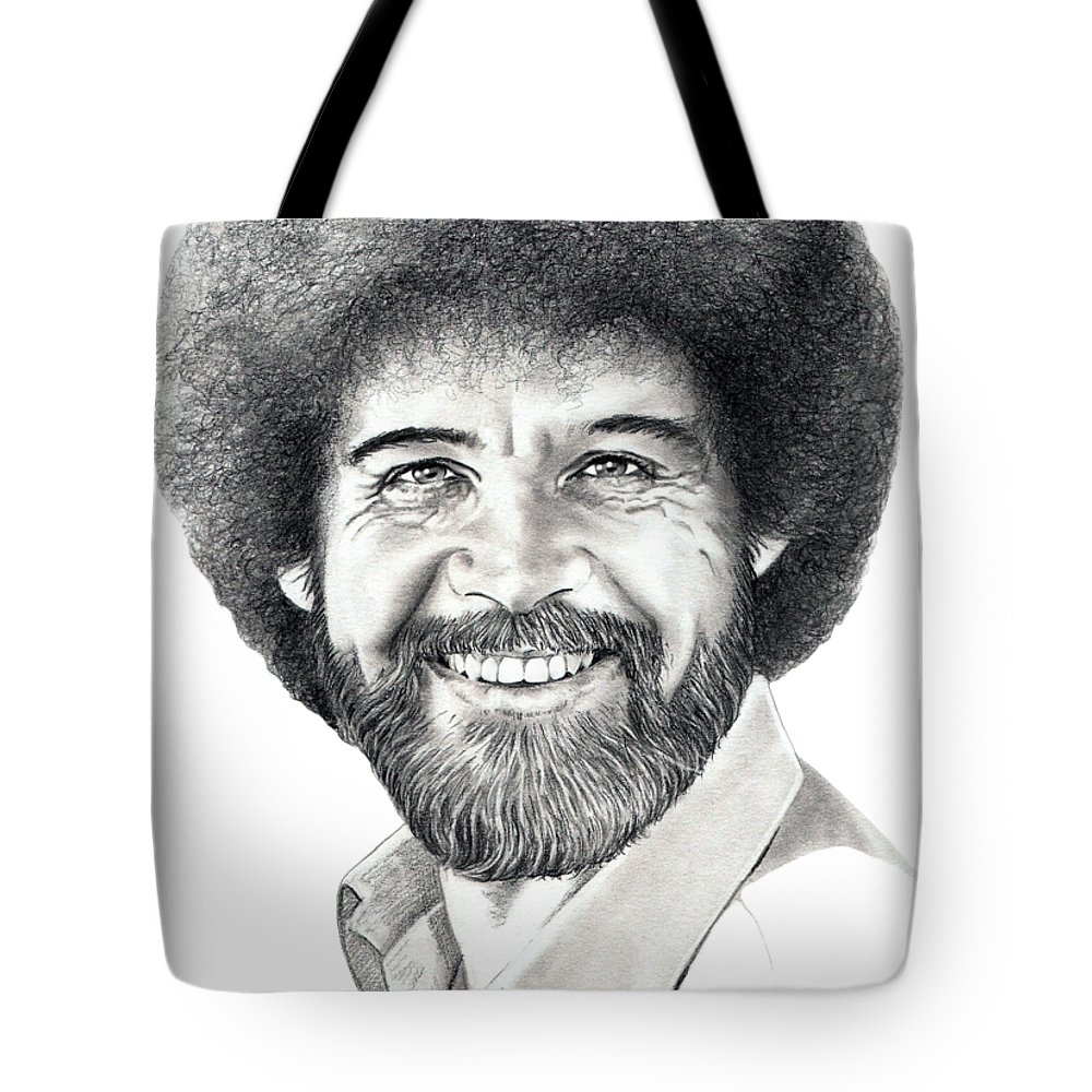 Pencil Tote Bag featuring the drawing Bob Ross by Murphy Elliott