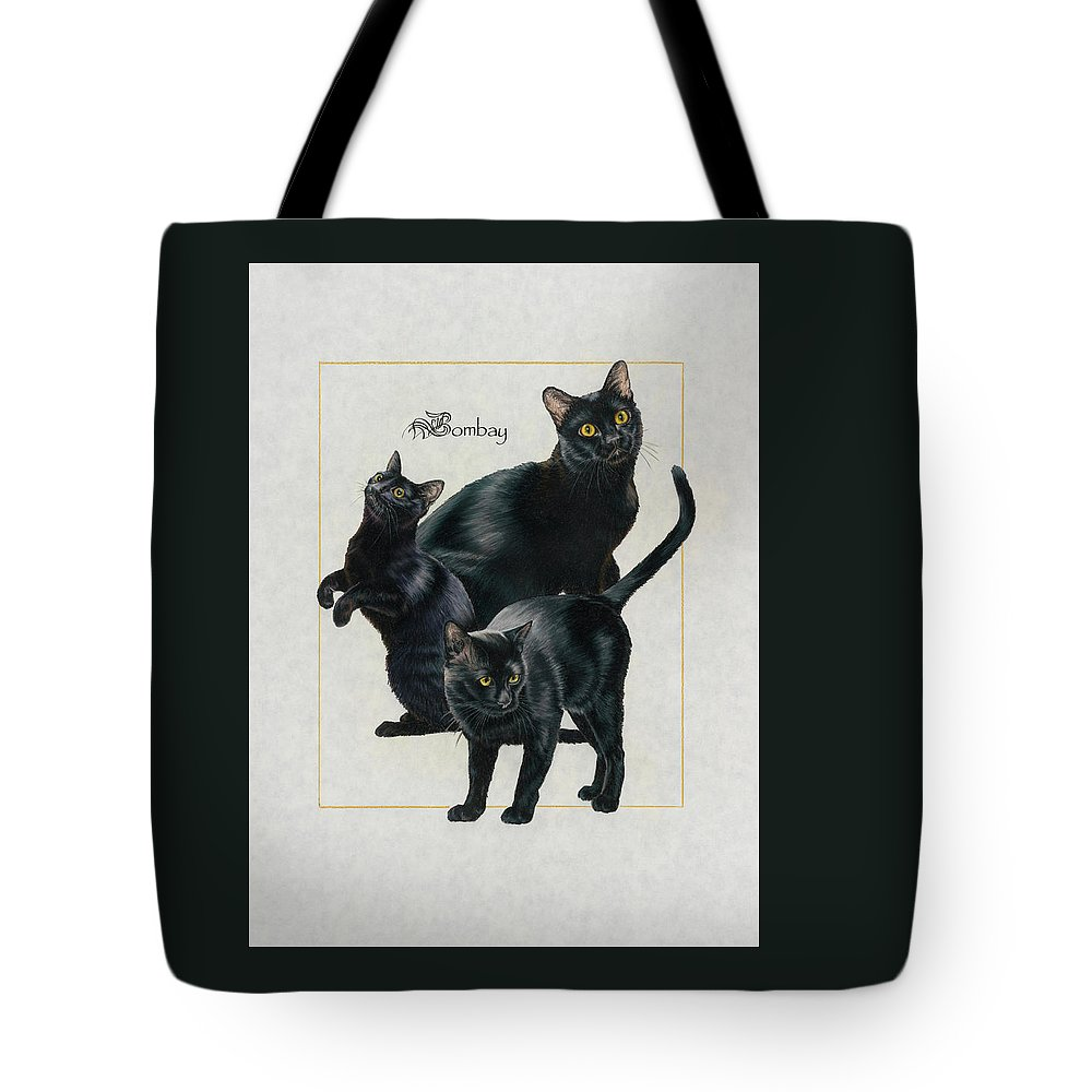 Feline Tote Bag featuring the drawing Bombay by Barbara Keith