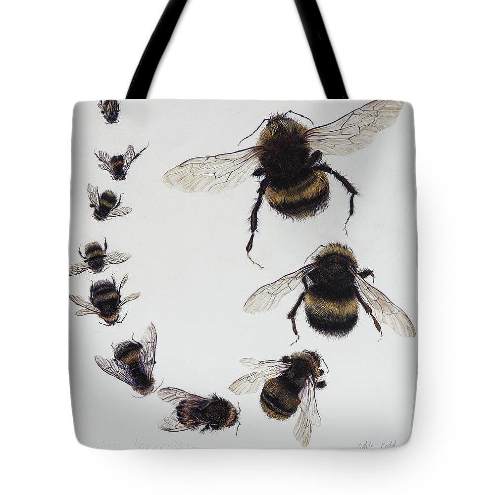 Nature Tote Bag featuring the painting Bombus by Odile Kidd