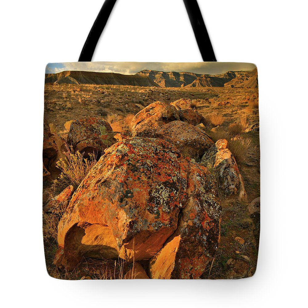 Grand Junction Tote Bag featuring the photograph Book Cliffs Desert At Sunset by Ray Mathis