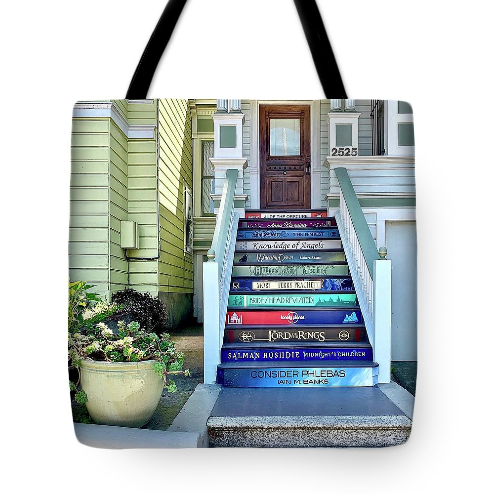 Tote Bag featuring the photograph Book Stairs House by Julie Gebhardt