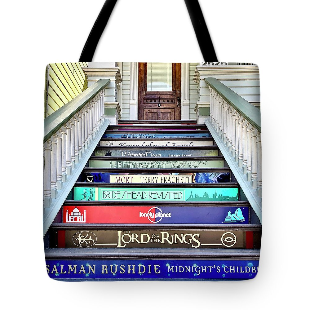 Tote Bag featuring the photograph Book Stairs by Julie Gebhardt