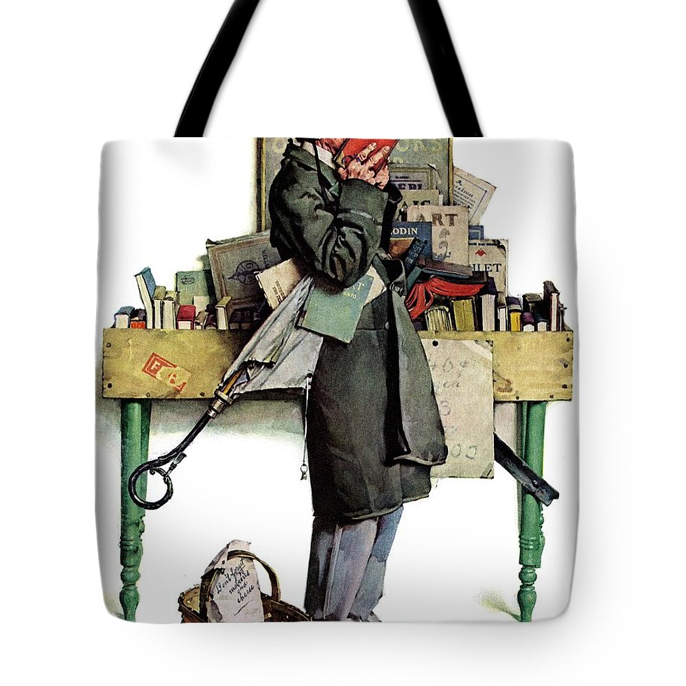 Books Tote Bag featuring the drawing Bookworm by Norman Rockwell