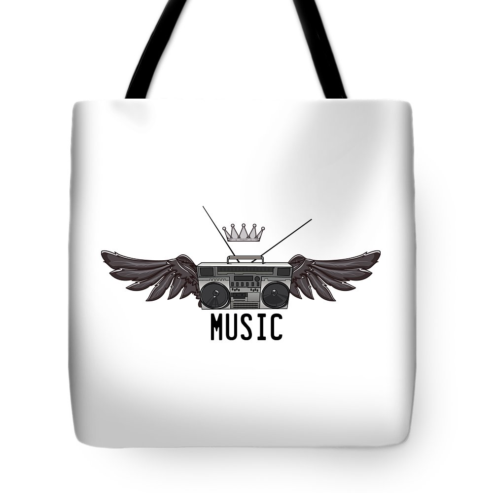 Halloween Tote Bag featuring the digital art Boombox Music by Passion Loft