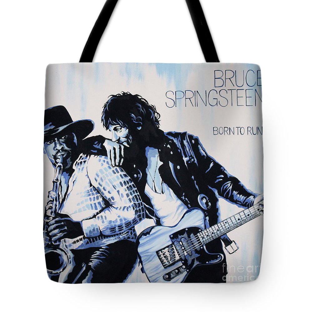 Bruce Springsteen Tote Bag featuring the painting Born to Run Bruce Springsteen by Amy Belonio