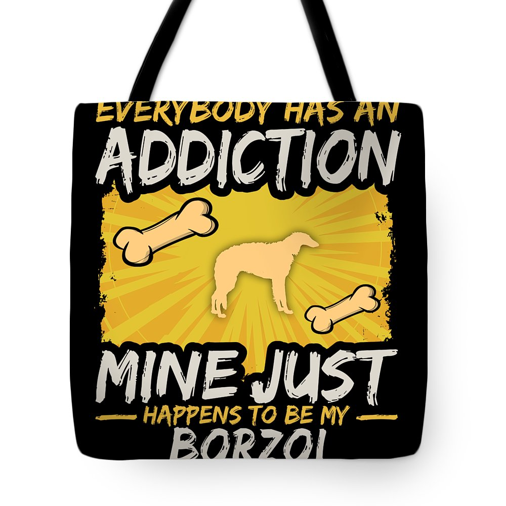 Funny-dog-breed Tote Bag featuring the digital art Borzoi Funny Dog Addiction by Passion Loft