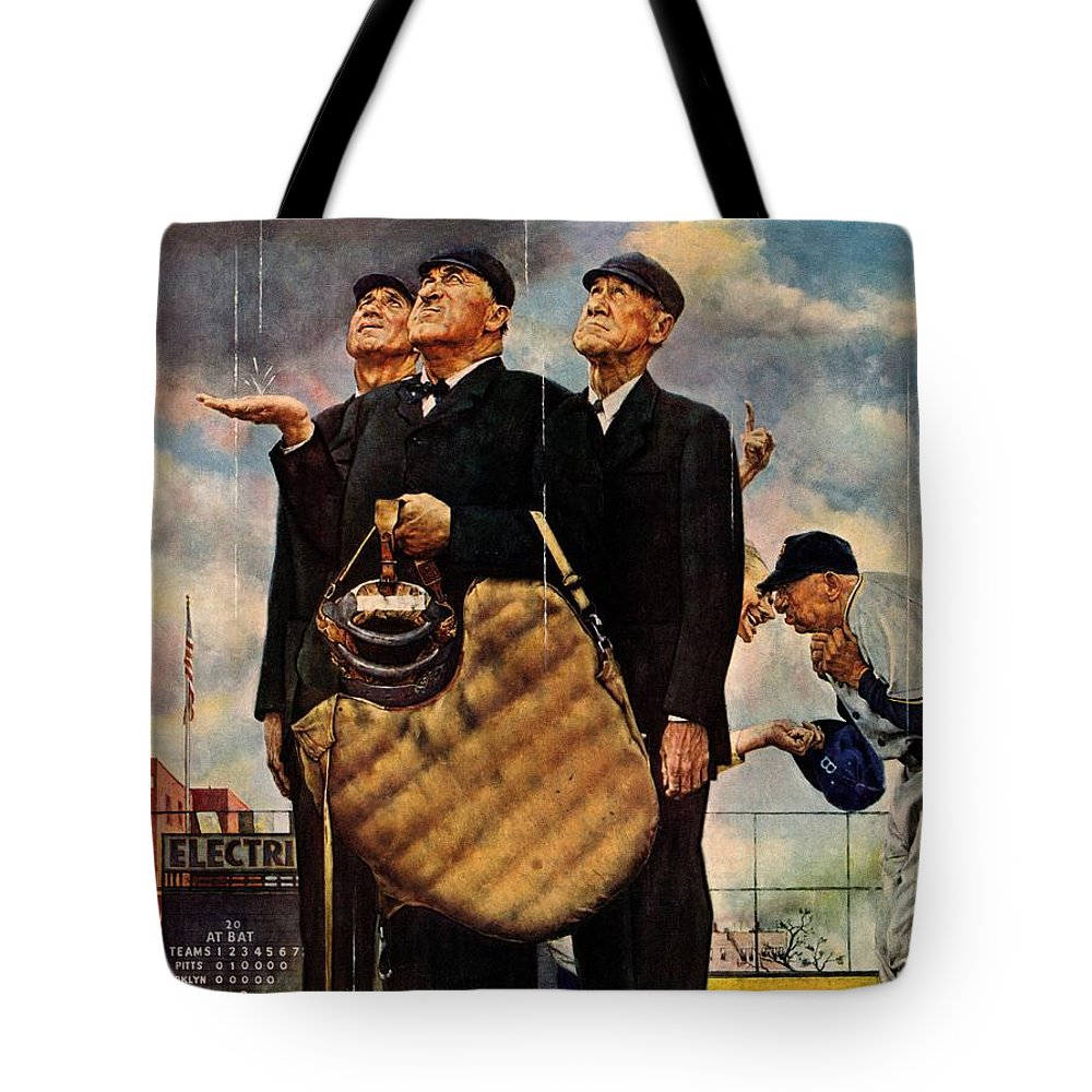 Baseball Tote Bag featuring the drawing Bottom Of The Sixth by Norman Rockwell